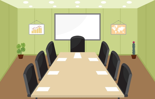 Office workplace conference meeting room business flat