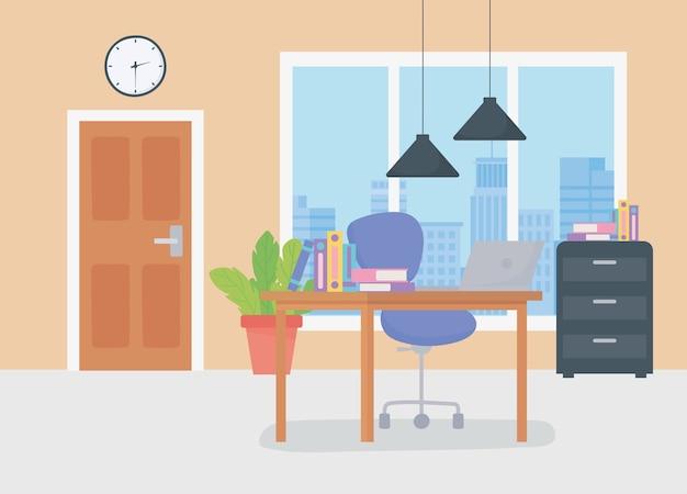 Офисное рабочее место deks стул книги шкаф двери часы и подвесные светильники.