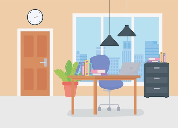 Office workplace deks chair books cabinet door clock and hanging lamps.