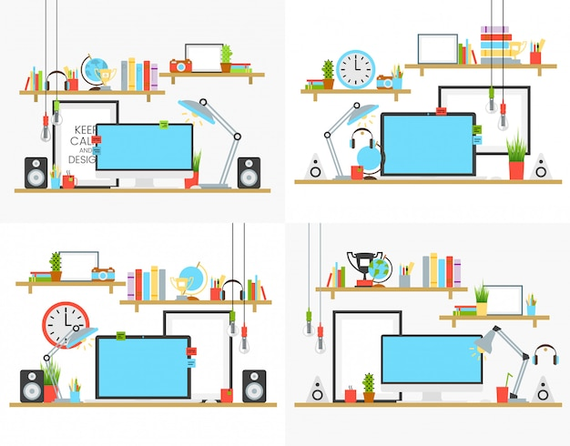 Office workplace design concept set with book shelves and cup of coffee on desk vector illustration. computer, lamp and sound acoustic