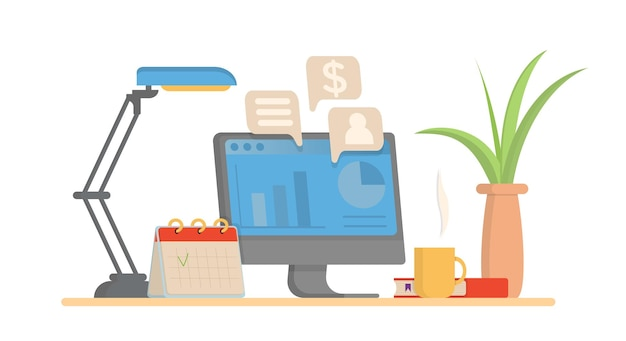 사무실 직장 책상 컴퓨터 및 항목 머그 램프 등. 벡터 평면 디자인