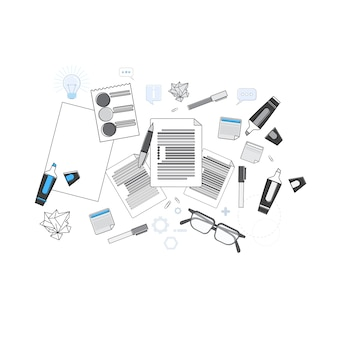 Office workplace desk top angle view thin line vector illustration