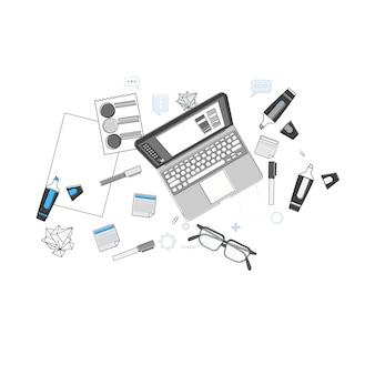 Офисный рабочий стол desk top angle view thin line векторная иллюстрация