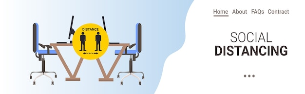 Office workplace desk with sign for social distancing yellow sticker coronavirus epidemic protection measures horizontal copy space