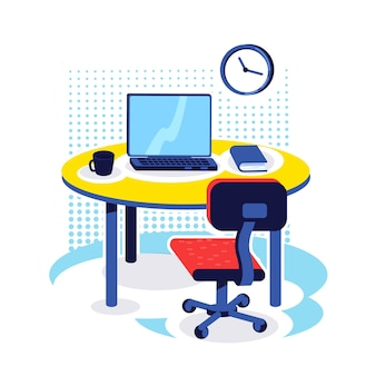 Office workplace flat color object. desk with computer. corporate job. pc monitor on table. home work place. workspace isolated cartoon illustration for web graphic design and animation