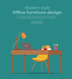 Free Vector Modern Office Desk With Flat Design