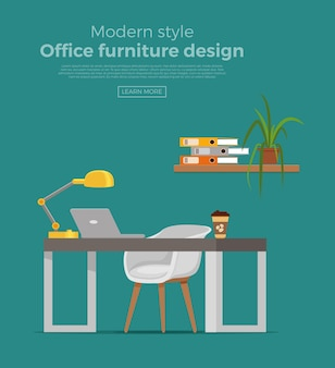 Office workplace interior cartoon design. chair, table with computer, plant, lamp business concept. colorful flat style illustration of designer, freelancer workstation.