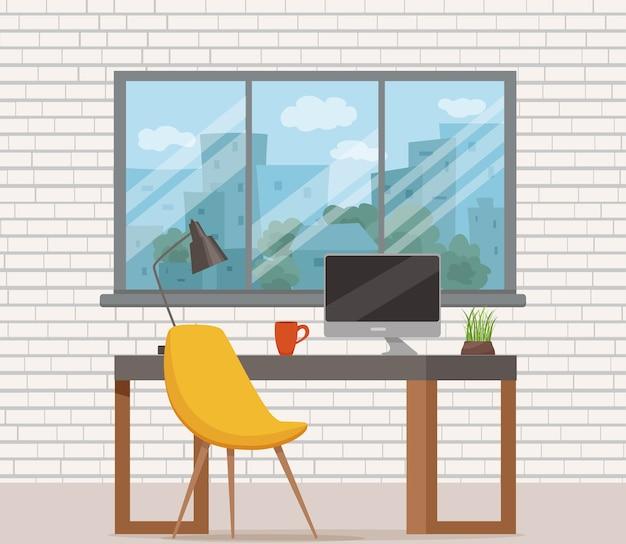 オフィスの職場のインテリア漫画のデザイン。椅子、コンピューター、プラント、ランプビジネスコンセプトのテーブル。デザイナー、フリーランサーワークステーションのカラフルなフラットスタイルのイラスト。