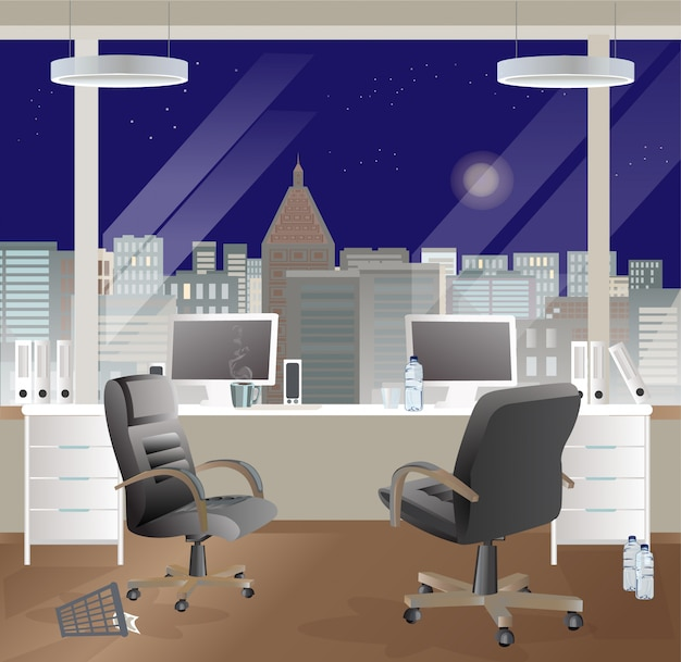 Office workplace interior design. night sky.