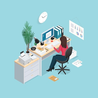 Office workplace isometric composition