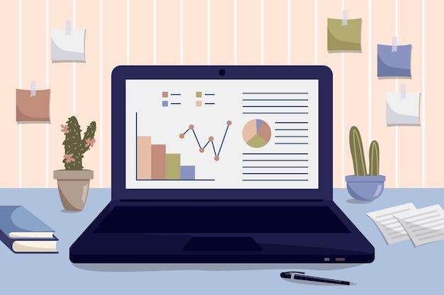 Офисное рабочее место. ноутбук на столе. концепция рабочего места. работа на дому. остаться дома. внештатный или учеба. иллюстрация в плоском стиле.