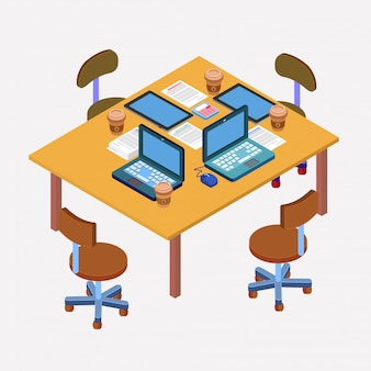 Офисное рабочее место. современное рабочее пространство. деловая встреча. командная работа. рабочий процесс. изометрические ноутбук, компьютер, планшет
