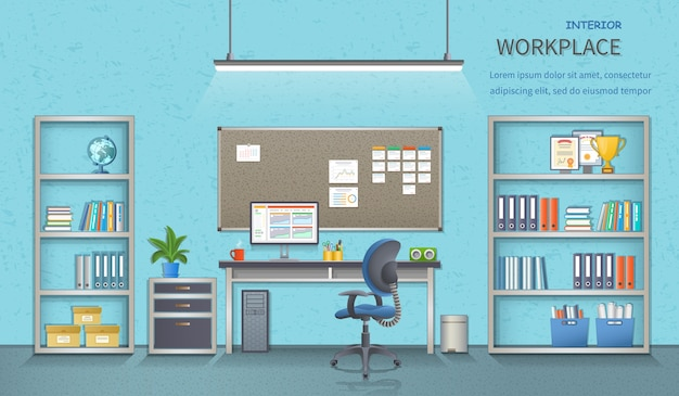 Office workplace room interior,  office supplies. detailed vector illustration for web banner.