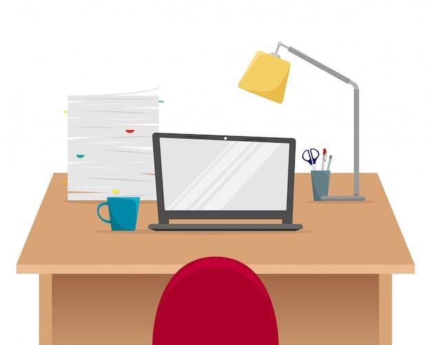 사무실 직장. 노트북, 논문의 스택 테이블