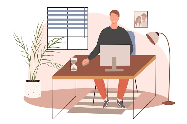 Office workplace web concept. man working on computer sitting at desk in cozy room with decor. freelancer or remote worker