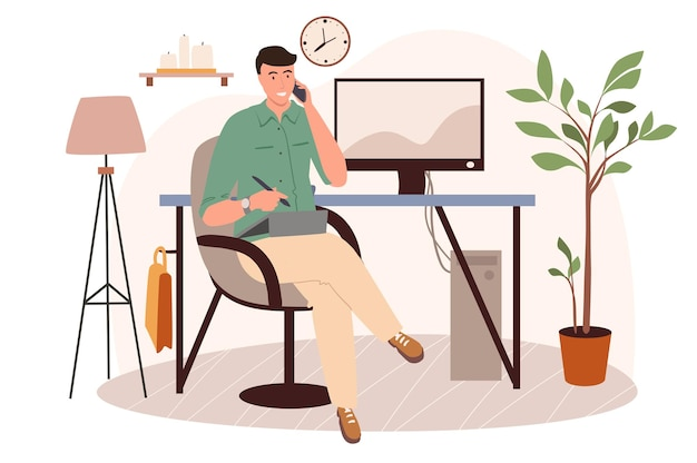 Office workplace web concept. man working on graphic tablet sitting in chair in room with decor. freelancer or remote worker