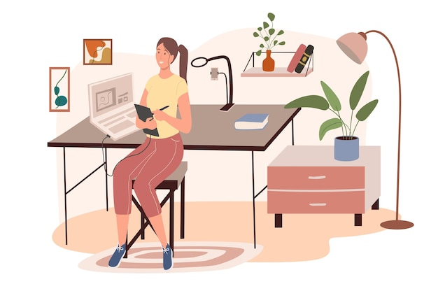 Office workplace web concept. woman designer working on graphic tablet sitting in chair in cozy room with decor and plants