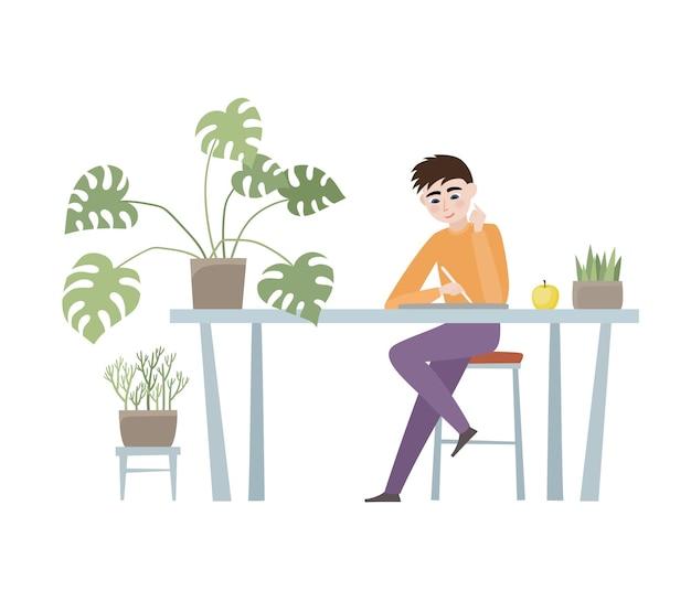 男、テーブル、ノート、椅子、植物のあるオフィスの職場