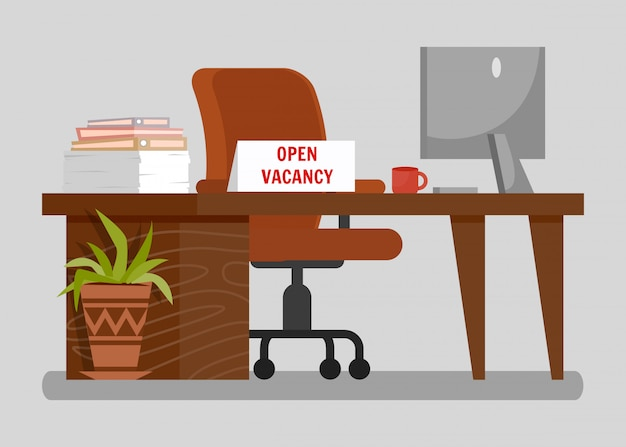 Office workplace with open vacancy sign clipart