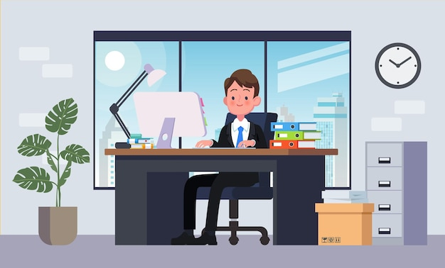 Office workplace with table. business man or a clerk working at her office desk. flat vector illustration.