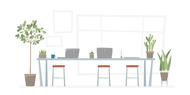 테이블 일러스트와 함께 사무실 직장