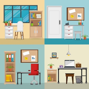 Office workplaces set scenes icons