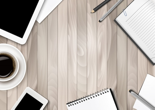 Office workspace background - coffee, tablet, notebooks and paper. .