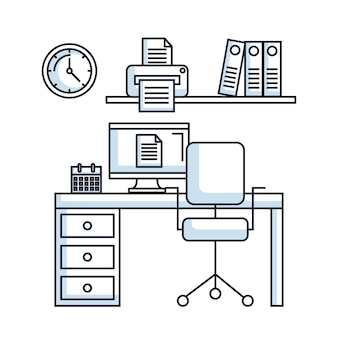 Office workspace desk chair pc printer clock calendar