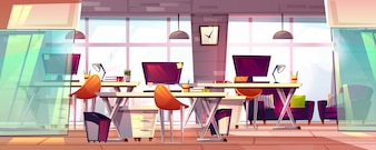 Office workspace illustration or coworking business open workplace interior.