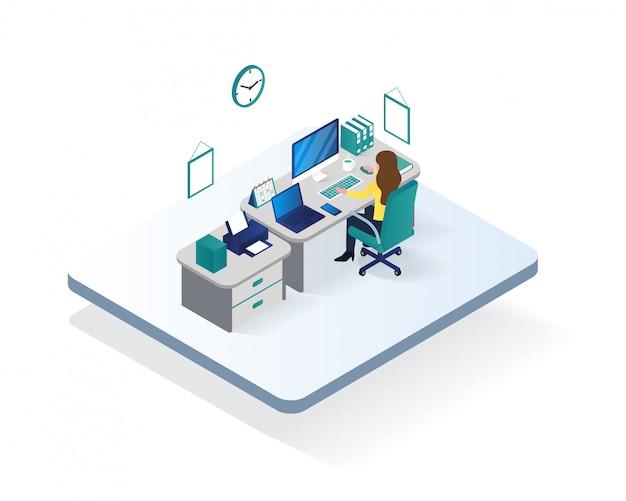 Office workspace room isometric illustration