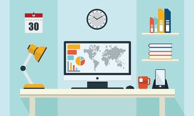 Иллюстрация office workspace table компьютер бизнес плоский дизайн