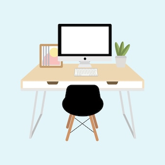 Office workspace with computer