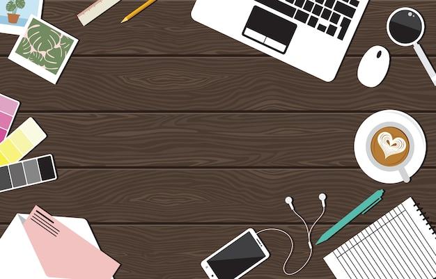 オフィスワークスペースワークプレーステーブルコンピュータフラットトップビュー