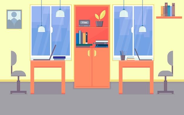 Офисное рабочее место мебель концепция интерьера векторные иллюстрации плоский мультяшный стиль