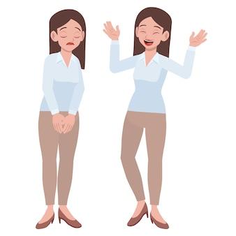 2つの異なる気分反応を持つオフィスの若い女性