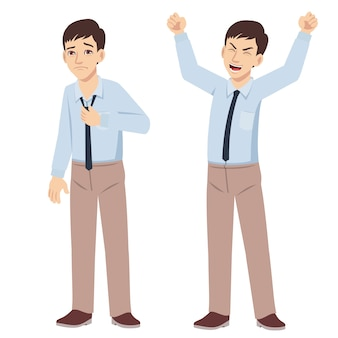 Office young man standing poses with happy and unhappy emotion