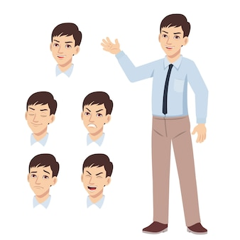 Office young man standing waved hand and difference face expression set