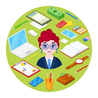 陽気で幸せな女性実業家とoffice.グリーンイラストレーション上の文房具。