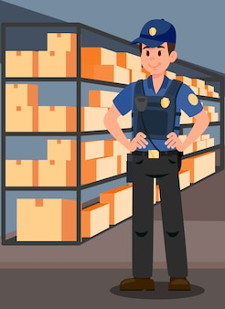 Officer in evidence room flat vector illustration