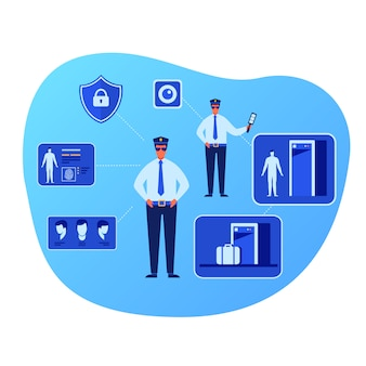 Officers characters and smart security system set