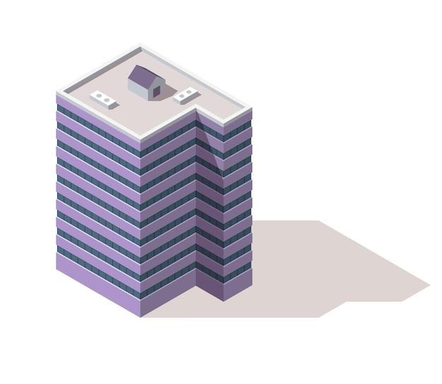 사무실 아이소 메트릭. 타운 아파트 건물 도시지도 생성. 건축 3d 그림