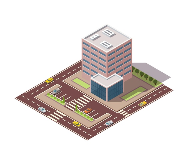Offices isometric. town apartment building with street and cars for city map creation. infographic element. city house composition with roads