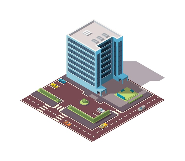 Offices isometric. town apartment building with street and cars for city map creation. infographic element. city house composition with roads.