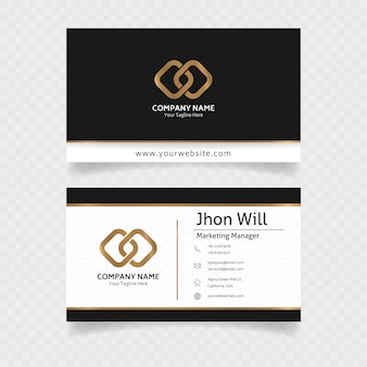 Official business card in gold with elegant concept