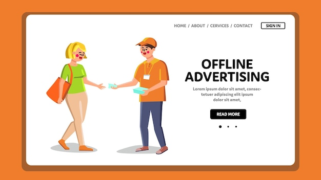 Offline advertising, worker give leaflet vector. offline advertising occupation promoter on street, man with badge giving advertise flyer to woman. characters web flat cartoon illustration