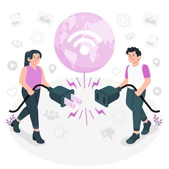 Offline concept illustration