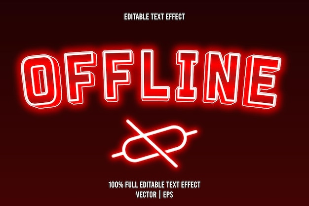 Offline editable text effect 3 dimension emboss neon style