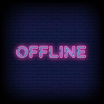 Offline neon signboard on brick wall