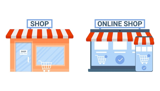 Offline and online shop payment in store choice shop in site vs shop in building