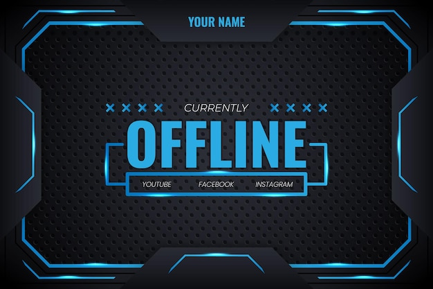 Offline streaming futuristic gaming background with blue gradient and lighting lines vector design modern